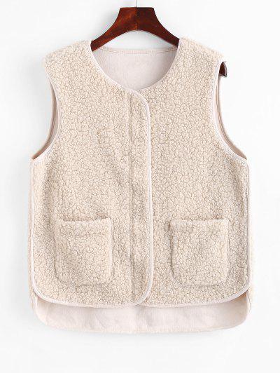 Faux Shearling Zip Pocket Teddy Vest - White L