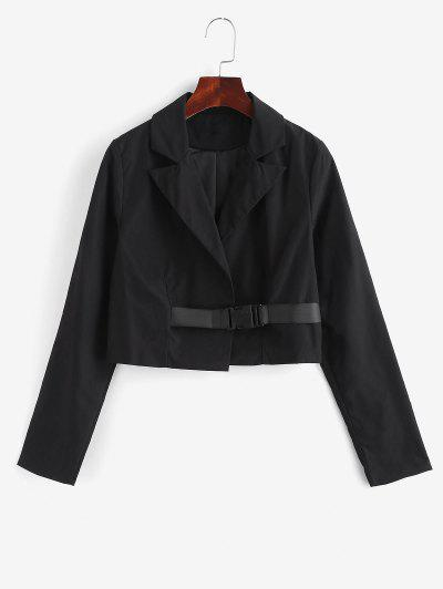 Notch Lapel Buckle Cropped Jacket - Black L