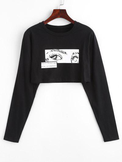 Pop Art Eye Pattern Long Sleeve Crop Tee - Black L