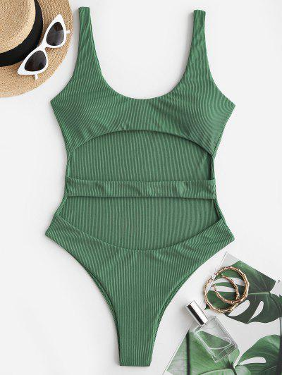 ZAFUL Ribbed Cutout Underboob One-piece Swimsuit - Light Green L