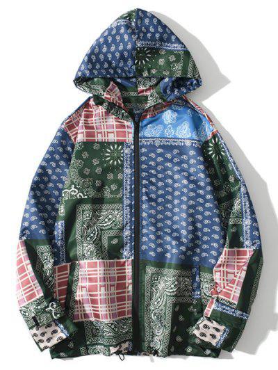 Hooded Bohemian Patchwork Print Jacket - Denim Dark Blue 2xl