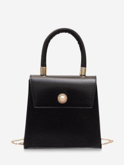 Faux Pearl Detail Chain Strap Crossbody Bag - Black