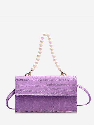 Animal Pattern Faux Pearl Double Strap Crossbody Bag - Mauve