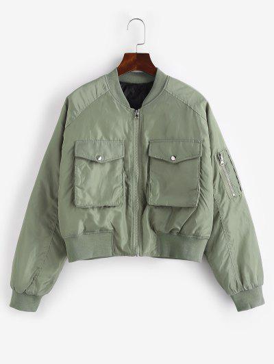 Quilted Pocket Raglan Sleeve Zipper Coat - Light Green S
