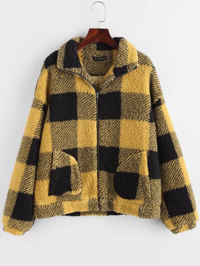 Plaid Faux Shearling Drop Shoulder Teddy Coat - Yellow M
