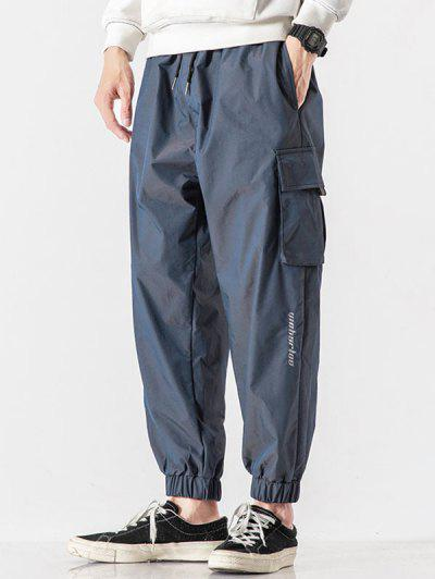Letter Embroidered Multi Pockets Reflective Cargo Pants - Lapis Blue Xl
