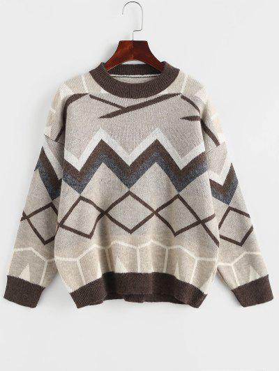 Zig Zag Geo Drop Shoulder Jumper Sweater - Coffee