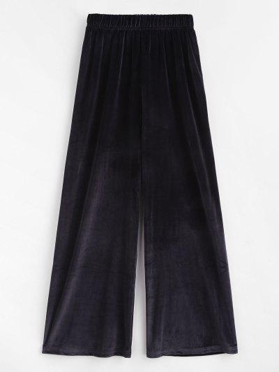 Pantalon Décontracté à Jambe Large En Velours - Noir