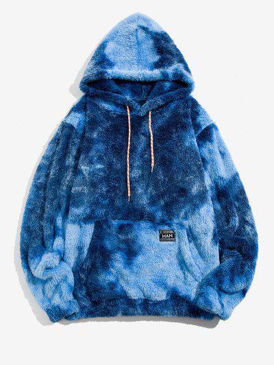 Kangaroo Pocket Tie Dye Faux Fur Fluffy Hoodie - Blue M