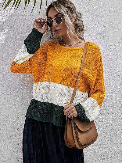 Colorblock Chunky Sweater - Orange L