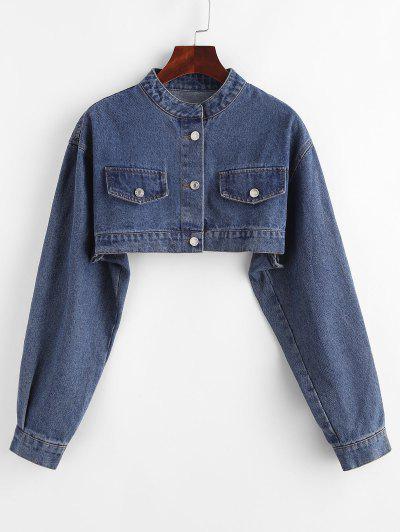 Drop Shoulder Flap Detail Cropped Jean Jacket - Deep Blue L