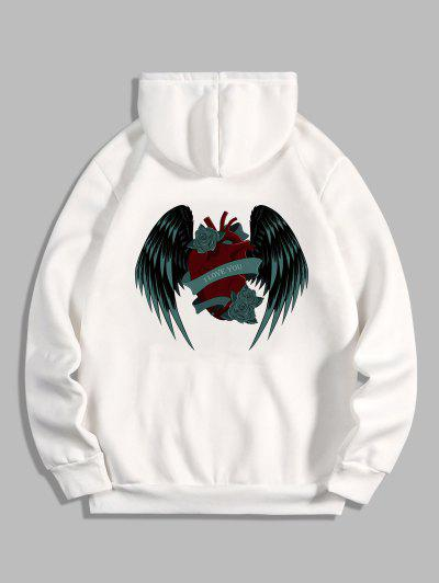 I Love You Rose Heart Wing Graphic Fleece Hoodie - White L