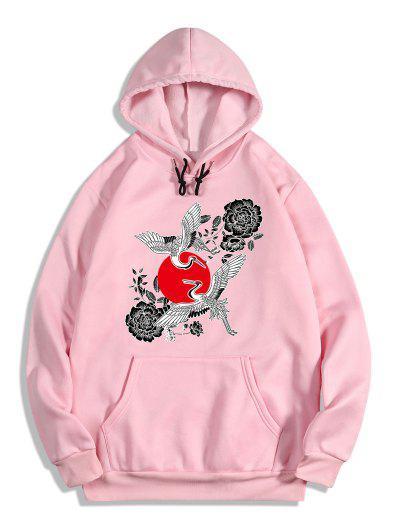 Chinoiserie Flying Crane Red Sun Flower Print Fleece Hoodie - Flamingo Pink S