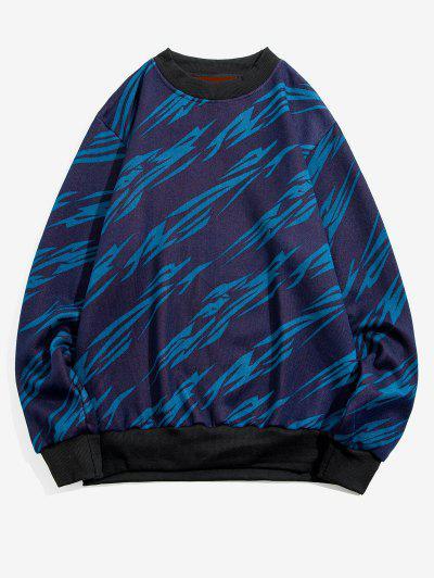 Stripes Print Rib-knit Trim Fleece Sweater - Blue S