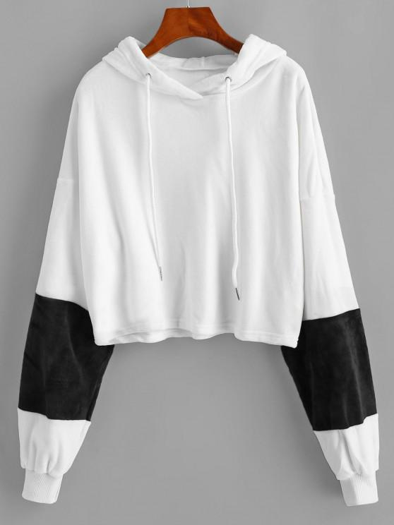 hot ZAFUL Drop Shoulder Velvet Hoodie - WHITE XL