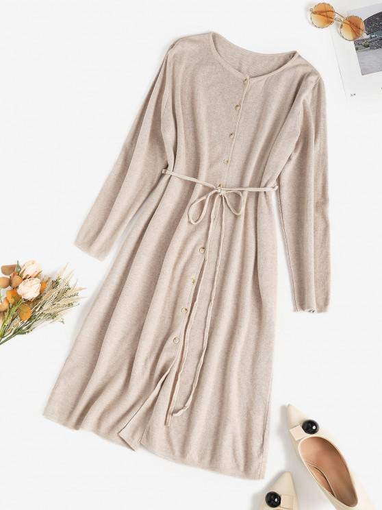 affordable Longline Tie Waist Button Up Cardigan - LIGHT COFFEE ONE SIZE