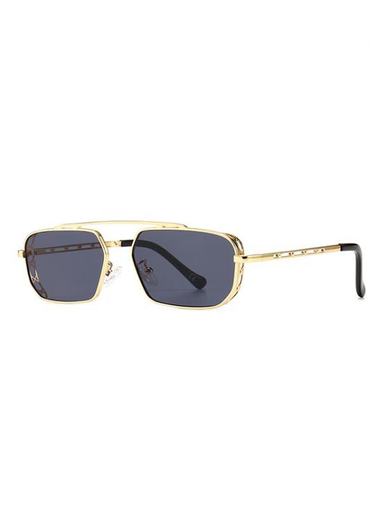 Metal Bar Narrow Irregular Sunglasses - أسود