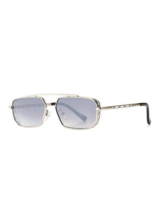 shop Metal Bar Narrow Irregular Sunglasses - PLATINUM
