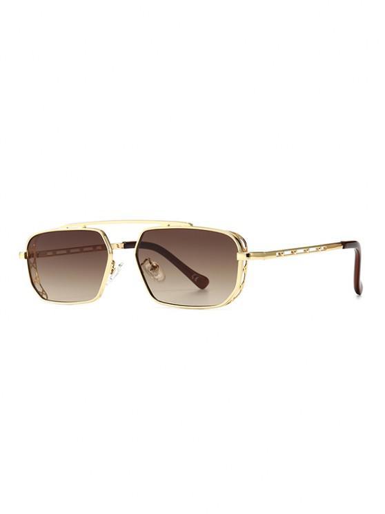 Metal Bar Narrow Irregular Sunglasses - البني الفاتح