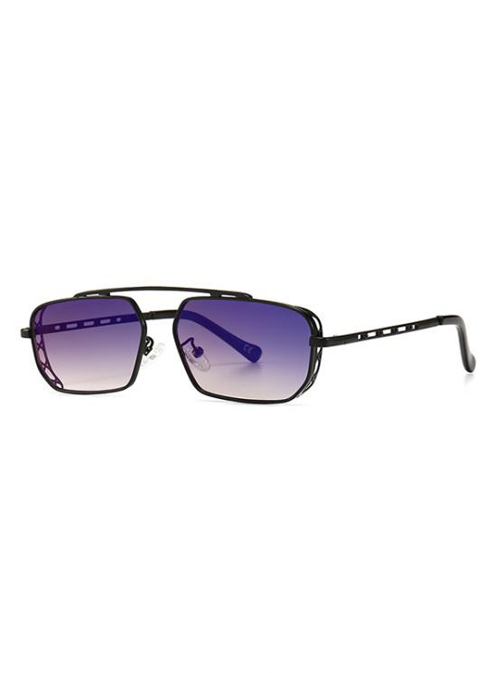 latest Metal Bar Narrow Irregular Sunglasses - DEEP BLUE