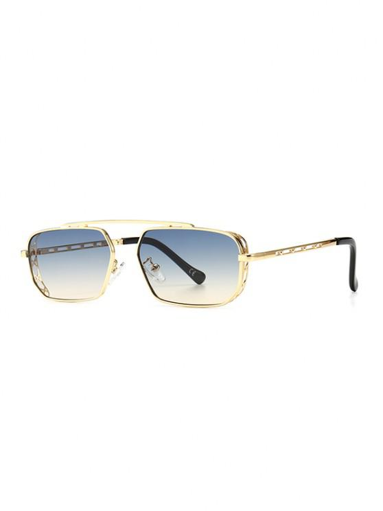 trendy Metal Bar Narrow Irregular Sunglasses - LIGHT BLUE