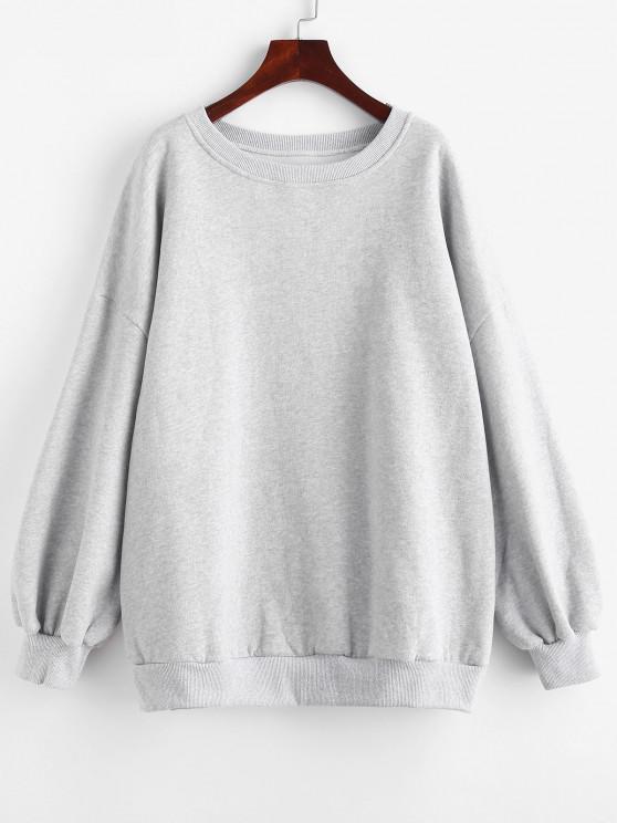 Crew Neck Fleece Lined Oversized Sweatshirt - اللون الرمادي S