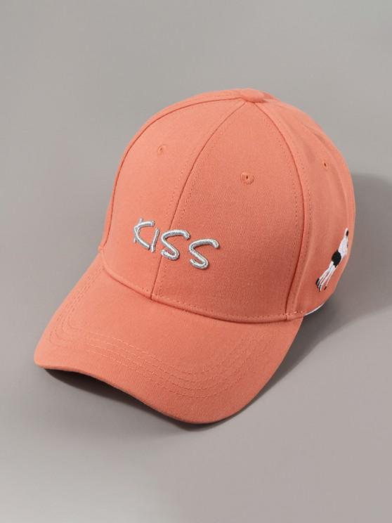chic Letters Kiss Embroidery Baseball Cap - SUNRISE ORANGE