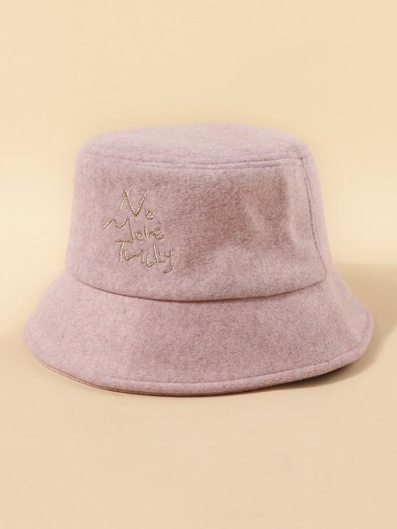 buy Letters Embroidery Woolen Cloth Hat - LIGHT PINK