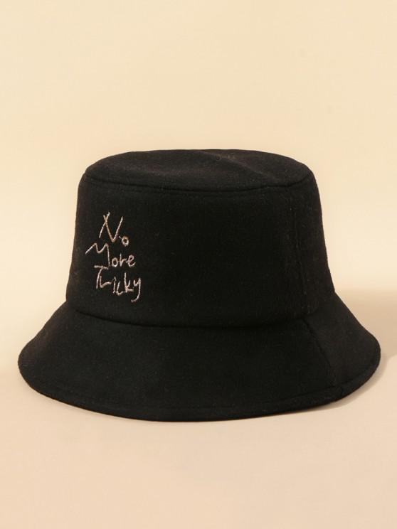 Letters Embroidery Woolen Cloth Hat - أسود