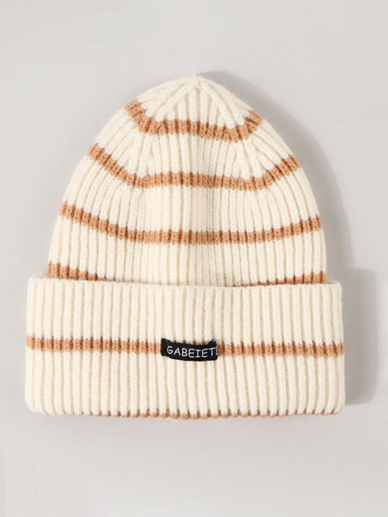 women's Striped Ribbed Knitted Hat - LIGHT COFFEE