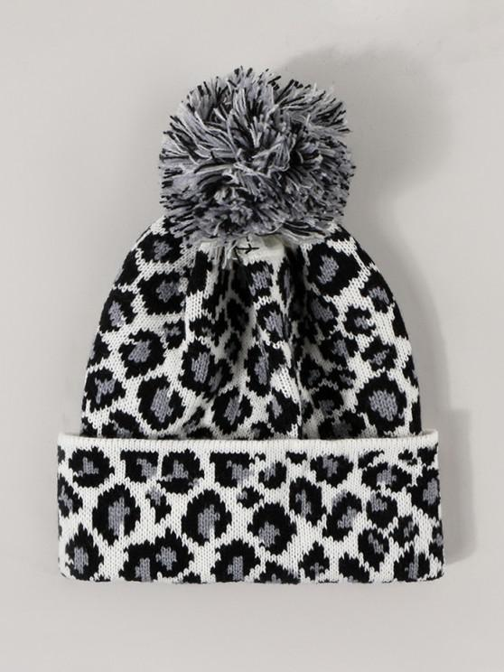 lady Leopard Pattern Knitted Bubble Hat - WHITE