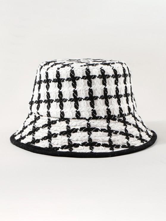 online Plaid Pattern Winter Bucket Hat - WHITE