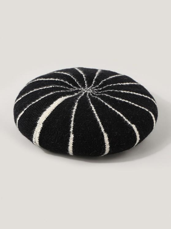 hot Striped Knitted Painter Beret Hat - BLACK