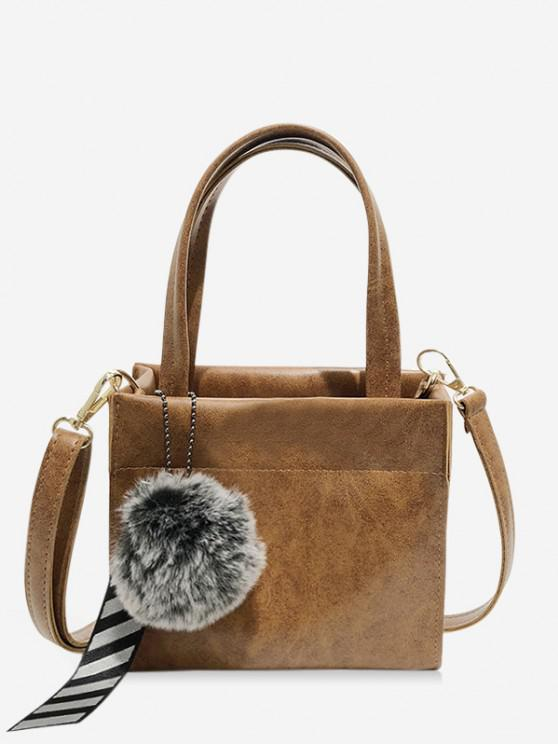 best Retro Pom Pom Ribbon Pendant Handbag - LIGHT BROWN