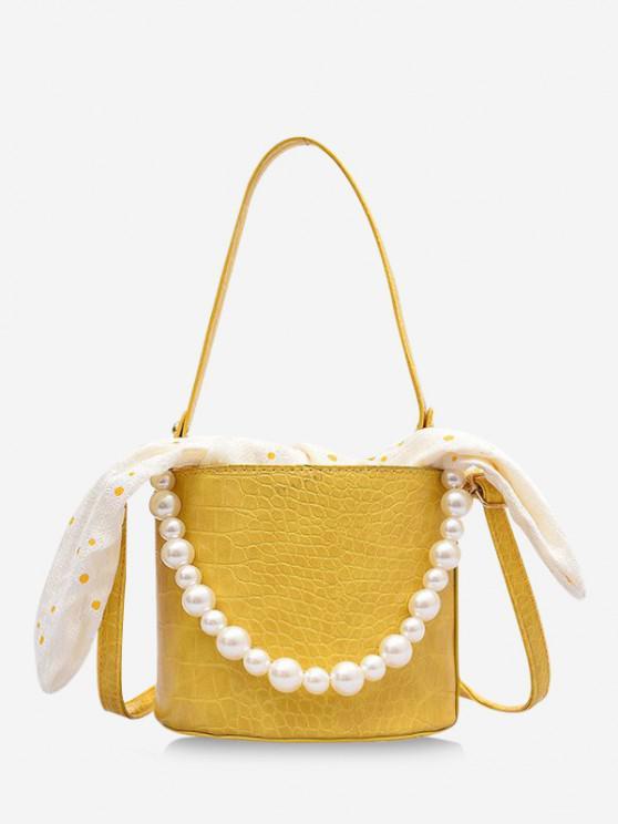 shop Polka Dot Print Bowknot Faux Pearl Bucket Bag - GOLDENROD