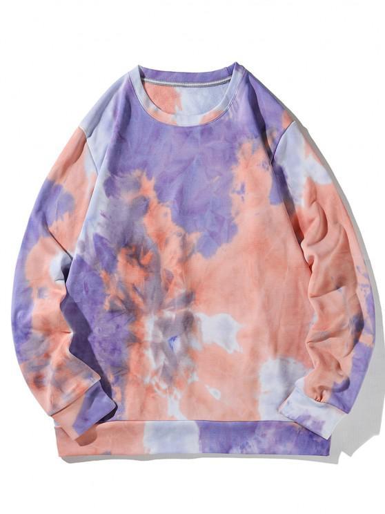 fashion Tricolor Tie Dye Printed Sweatshirt - MULTI 2XL