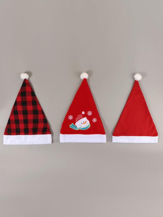chic 3Pcs Plaid Snowman Christmas Hat Set - RED