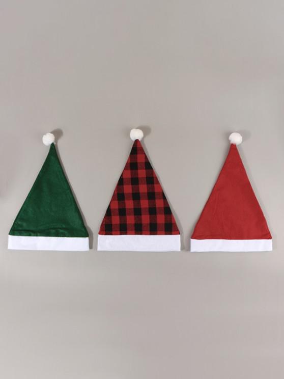 fancy 3Pcs Plaid Christmas Hats Set - MULTI-A