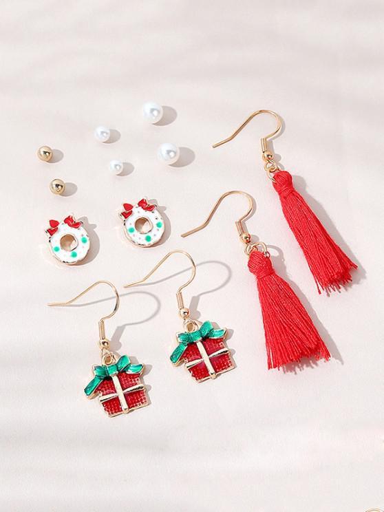 outfits 6 Pairs Christmas Cartoon Tassel Earrings Set - MULTI-B