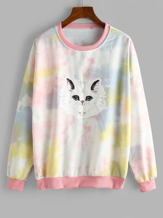 Tie Dye Funny Cat Oversized Drop Shoulder Sweatshirt - متعددة-A M