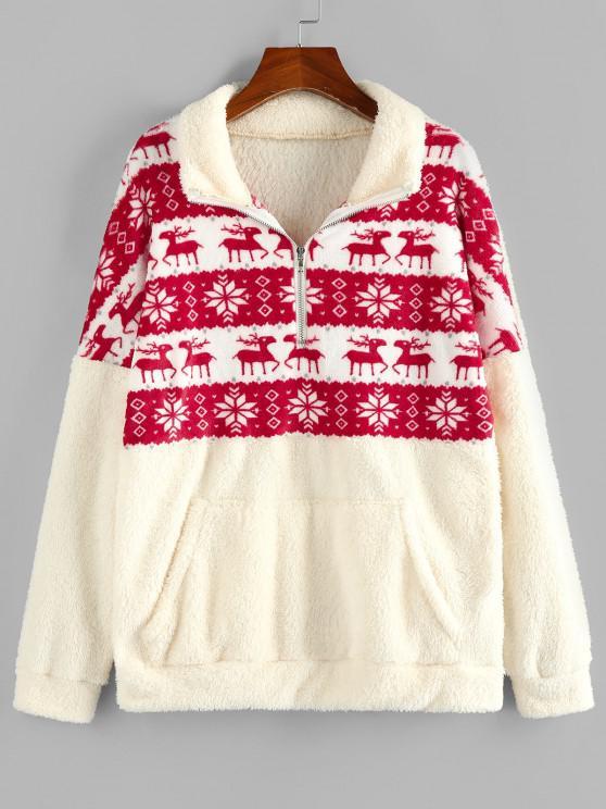 latest ZAFUL Christmas Elk Snowflake Half Zip Fluffy Sweatshirt - LIGHT COFFEE S