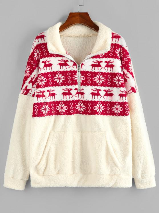 ZAFUL Christmas Elk Snowflake Half Zip Fluffy Sweatshirt - القهوة الخفيفة M