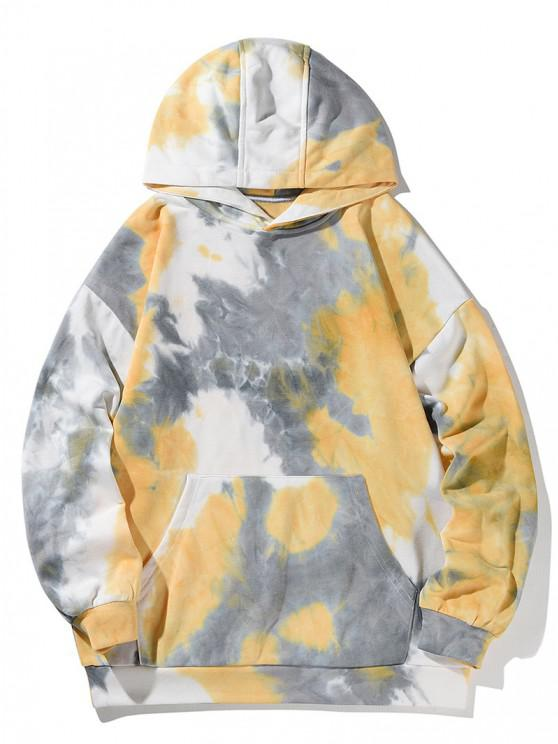 Kangaroo Pocket Tie Dye Print Drop Shoulder Hoodie - قضبان ذهبية L