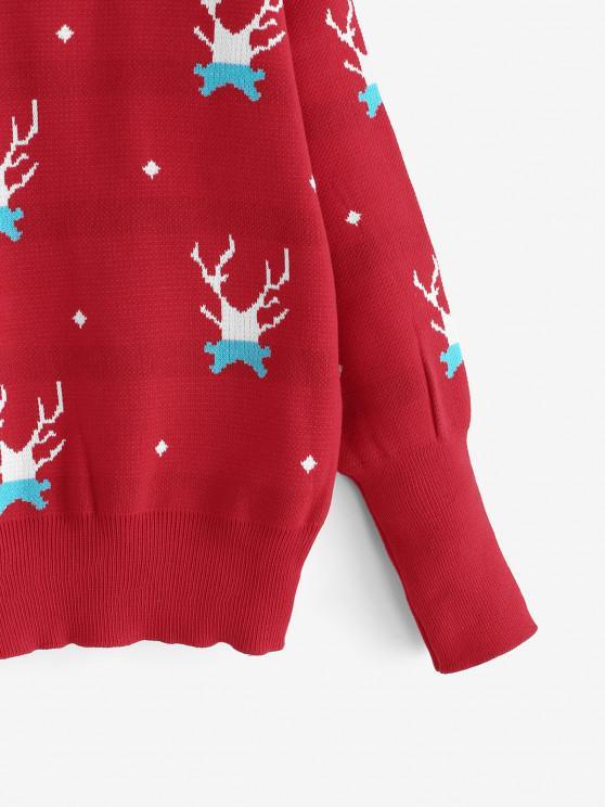 Christmas Elk Drop Shoulder Sweater - Red   ZAFUL