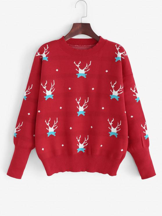 Jersey Suelto con Hombro Caído y Navidad - Rojo Talla única