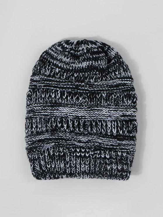 unique Mixed Color Knitted Hat - BLACK