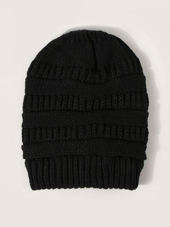 affordable Solid Ribbed Knitted Hat - BLACK
