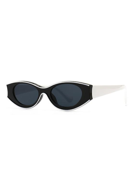 lady Retro Colorblock Oval Sunglasses - BLACK