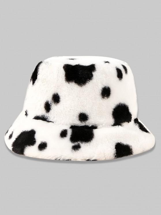 fashion Cow Printed Faux Fur Bucket Hat - WHITE