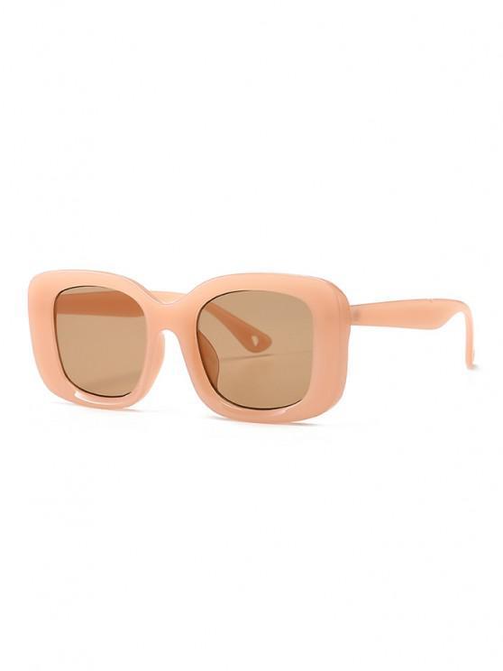 fashion Retro Wide Rim Square Sunglasses - ORANGE PINK